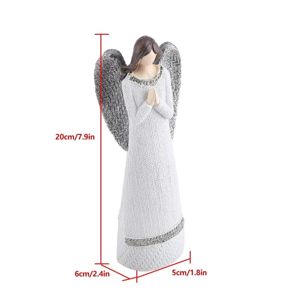 Anjali 20cm Statuetta Angelo resina bianca bellezza scolpita Figura ornamenti da tavolo Angelo dipinto a mano Figurine Collezione superiore Pregare per la pace Angelo Figurine Statua