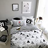 EnjoyBridal Cotton Duvet Bedding Cover Sets Kids Teens Queen Full Bed White Black Comforter Included 2 Pillow Shams Stripes Duvet Cover Sets for Boys Girls Zipper Closure (Queen, Triangle)