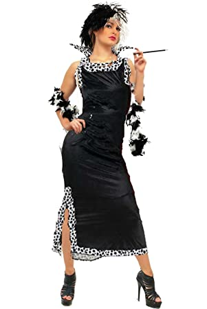 CC Cruella De Ville Fancy Dress Costume Full Length With Accessory ...