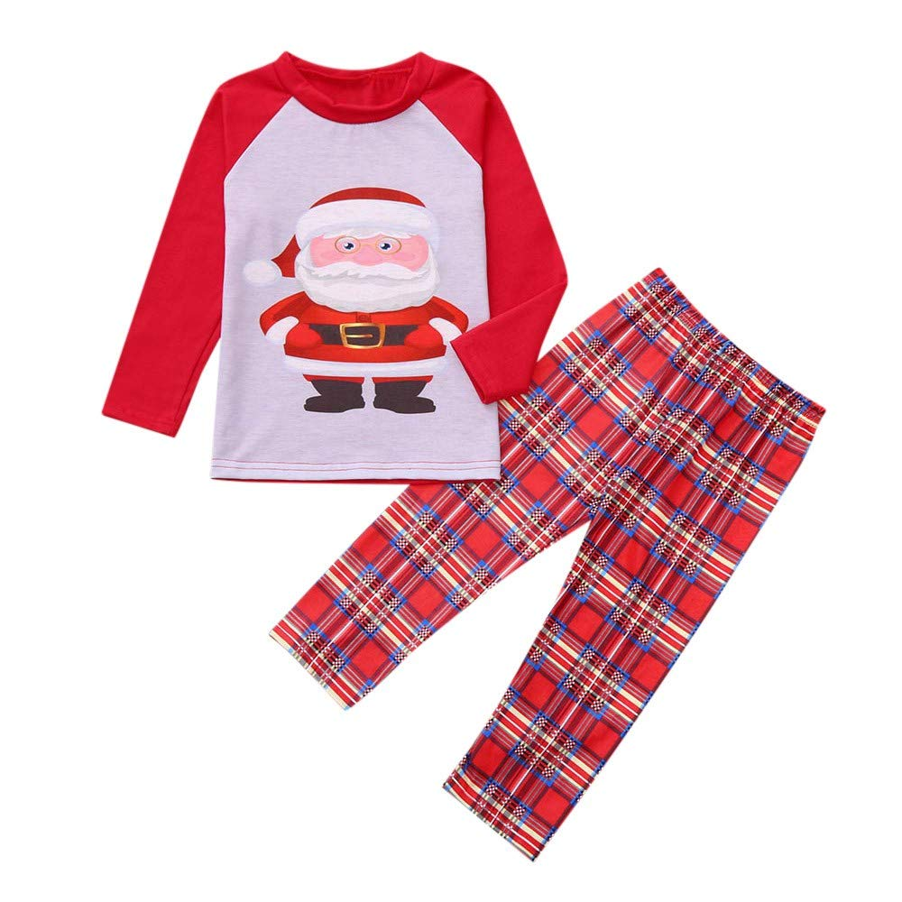 Longra® Infant Christmas Sleepwear, Kids Boy Girl Santa Tops Plaid Pants Outfits Family Xmas Pajamas 1-7 Years Longra®