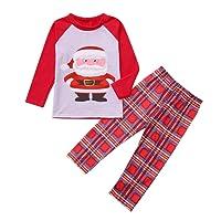 Pyjamas de Famille, Ensemble de Vêtements de Nuit de Noël, Sunnywill Chemisier à Manches Longues + Pantalon
