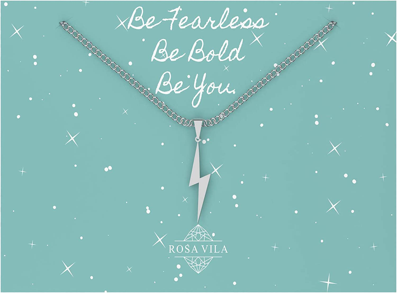 Rosa Vila Lightning Bolt Necklace, Be Fearless Necklace, Be Brave Necklace, Inspirational Necklaces for Women, Strength Necklace Pendant, Encouragement Gifts for Women
