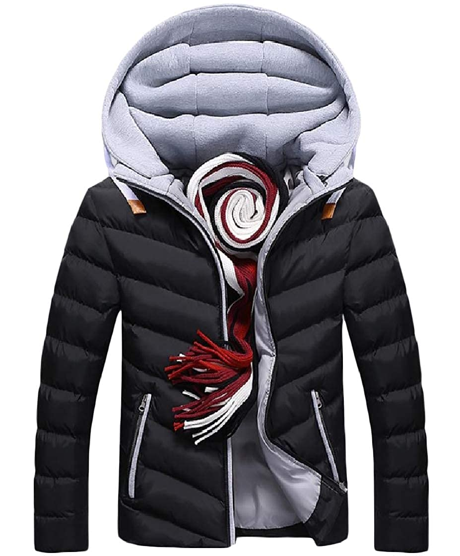 YUNY Mens Warm Thick Leisure Hood Zip Pocket Patchwork Down Outwear Pattern1 3XL