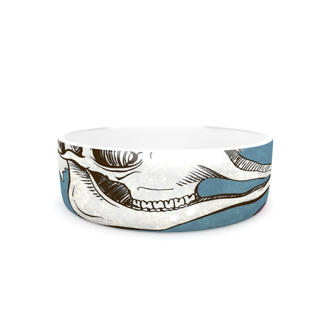 Kess InHouse Sophy Tuttle Skulls  Pet Bowl, 7-Inch