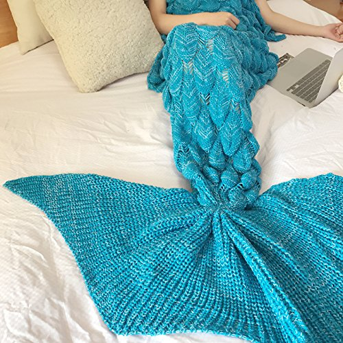 Adult Peacock Tail Fan (ZEM-PXD Oversized Mermaid tail blanket thickening adult acrylic knitting Princess fan gift blanket blanket single,Blue Peacock)