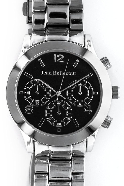 Jean Bellecour – reds11-sb – Armbanduhr – Quarz Analog – Zifferblatt schwarz Armband Stahl versilbert