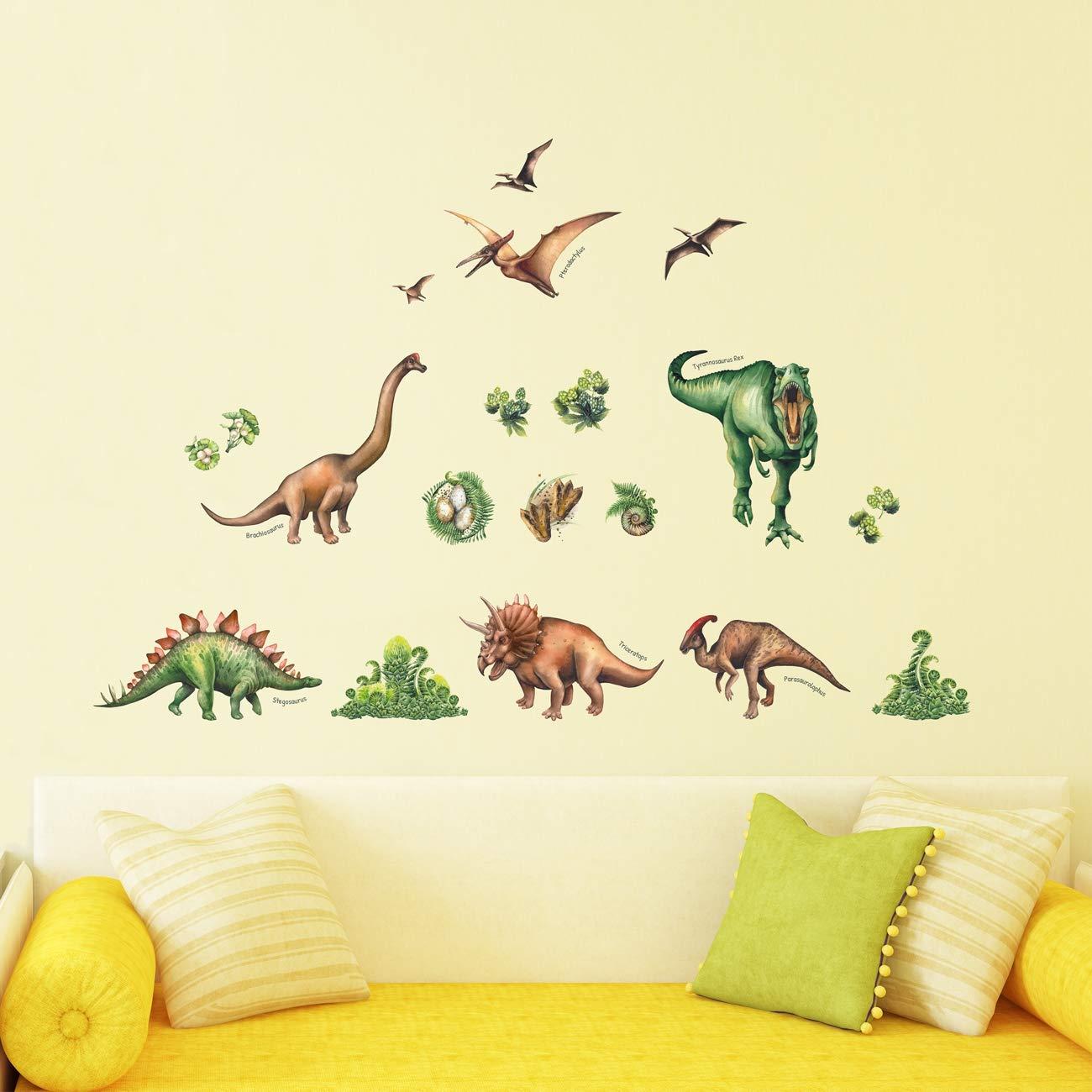 English Ver. DECOWALL DS-8034 Dinosaurio en Acuarela Vinilo Pegatinas Decorativas Adhesiva Pared Dormitorio Sal/ón Guarder/ía Habitaci/ón Infantiles Ni/ños Beb/és Peque/ña