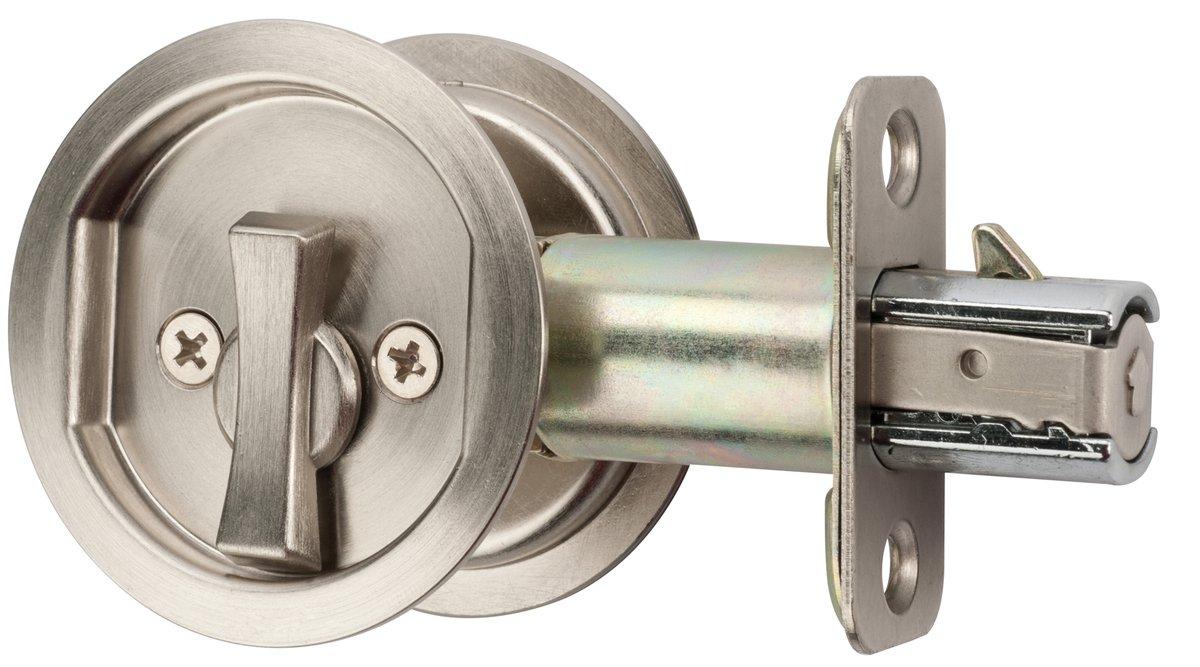 Citiloc Round Bed Bath Privacy Pocket Door Latch Satin Nickel