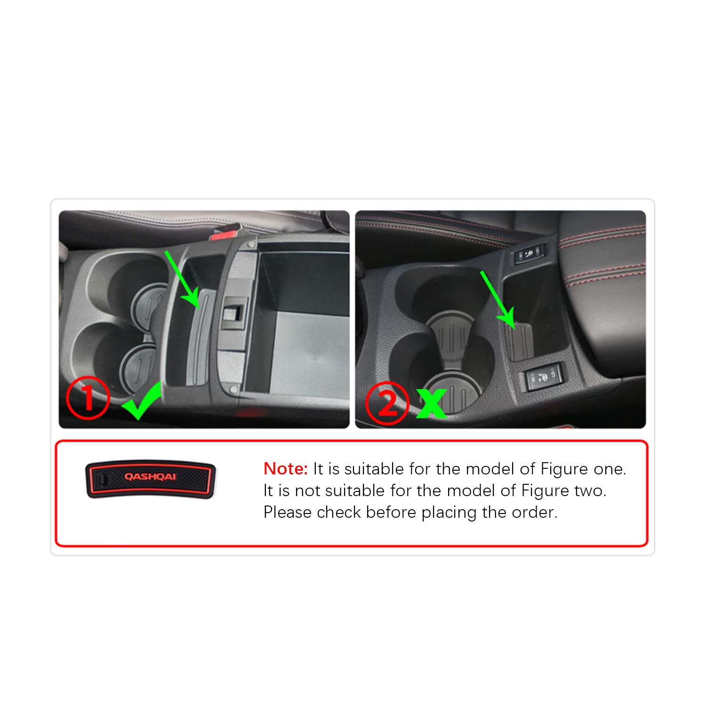 YEE PIN Door Slot Pad Rubber Mats Compatible with Nissan Qashqai 2019 Car Interior Accessories Water Cup Storage Box Non-Slip Mat