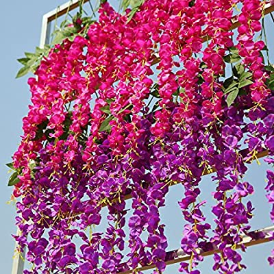 Conjugal Bliss Artificial Fake Wisteria Vine Ratta Hanging Garland Silk Flowers For Garden String Home Party Wedding Decore Simulation Flowers