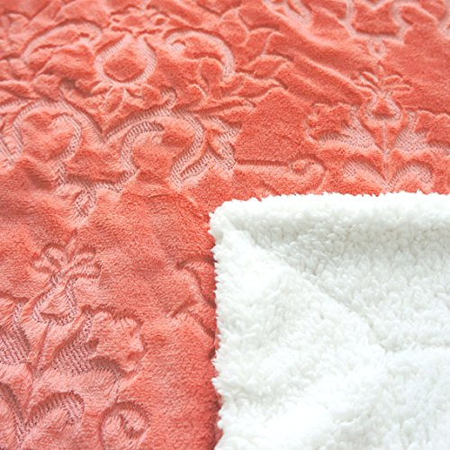 Home Soft Things Boon Jumbo Embroidery Batik Sherpa Throw Blanket, 60'' x 80'', Spice Coral