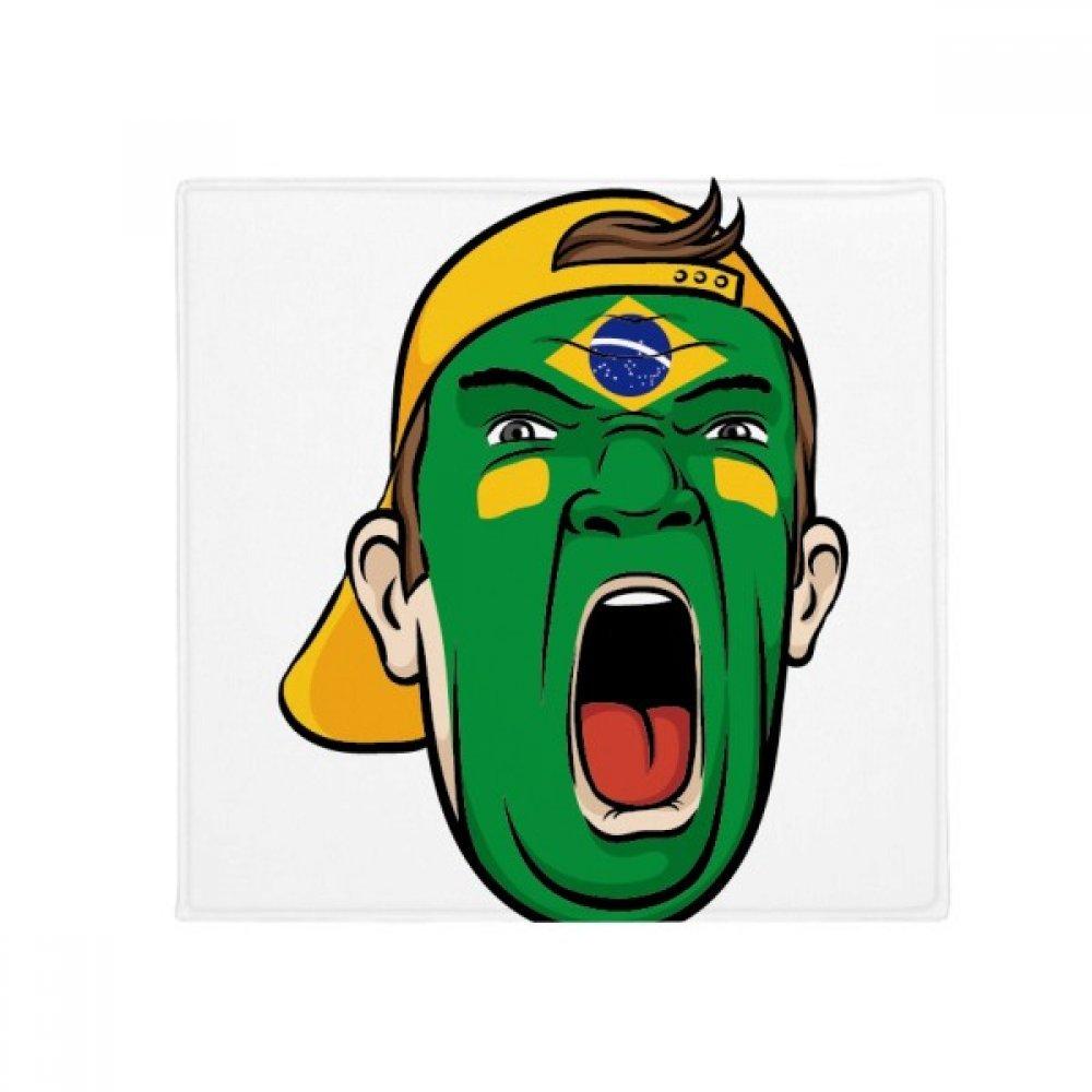 DIYthinker Brazil National Flag Makeup Screaming Cap Anti-Slip Floor Pet Mat Square Home Kitchen Door 80Cm Gift
