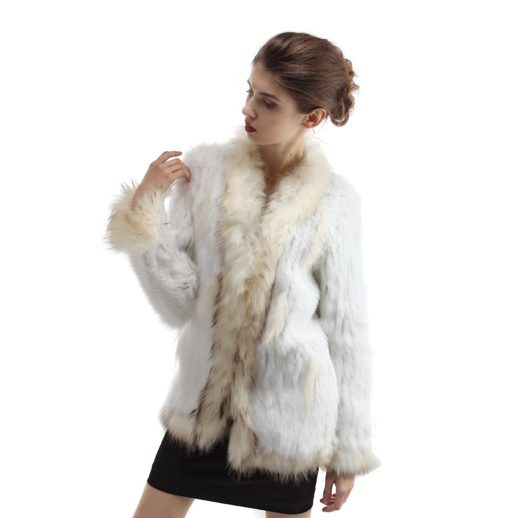OLLEBOBO Beautiful Women's Genuine Rabbit Fur Coat with Raccoon Dog Fur with Sleeves Size S White