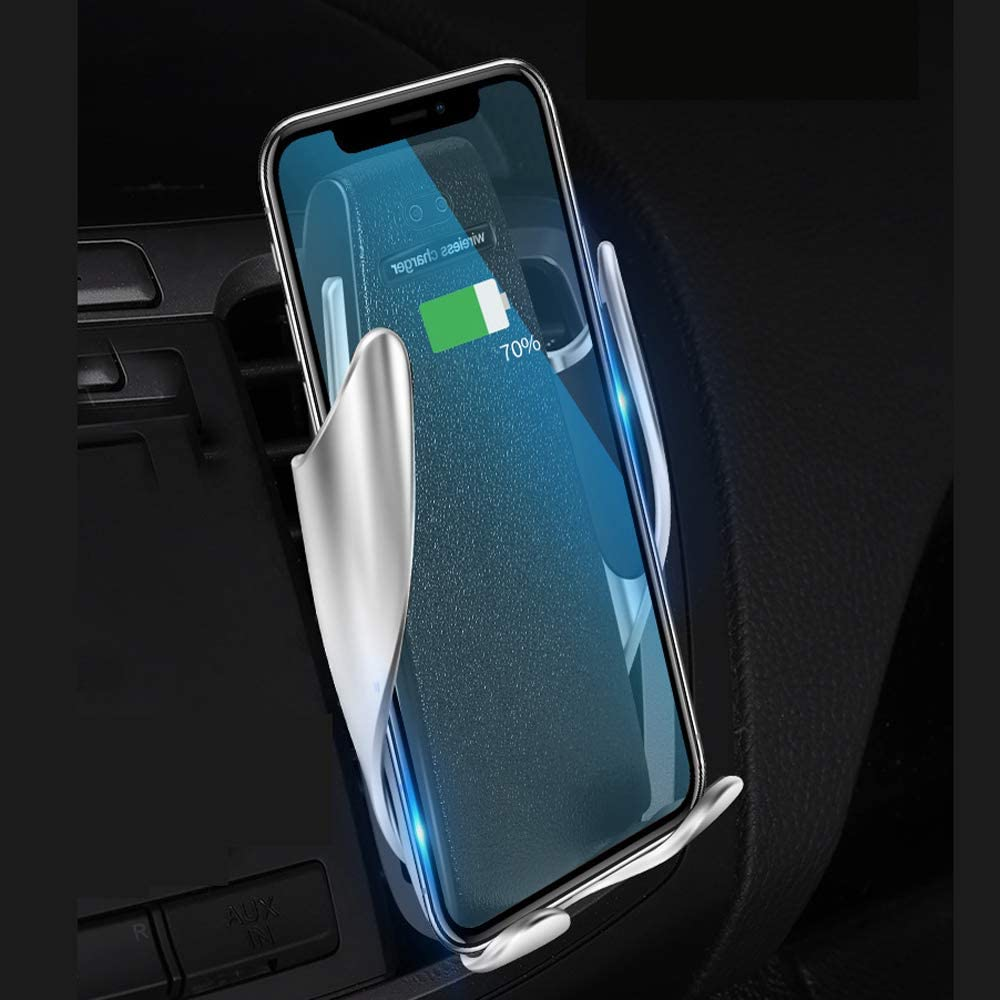 Automatic Clamping Wireless Car Charger Mount Infrared Motion Sensor Automatic Open and Clamp for Safe Driving Air Vent Phone Holder Compatible for iPhone Samsung /& Qi Enabled Devices