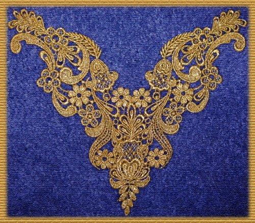(Beautiful Large Vintage Dusted Gold Metallic Venice/venise Lace Yoke Trim)