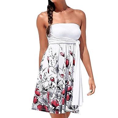 Ansenesna Kleid Damen Sommer Knielang Festlich Sommerkleid Elegant Blumen  Neckholder Kleider Off Shoulder Mädchen (S 662814f2cd
