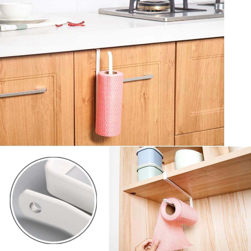 Kit Blanco VINFUTUR 2pcs Colgador para Tazas Soportes para Colgar Utensilios de Cocina Debajo de Gabinete Armario sin Perforaci/ón+2pcs Colgador Rollos Cocina