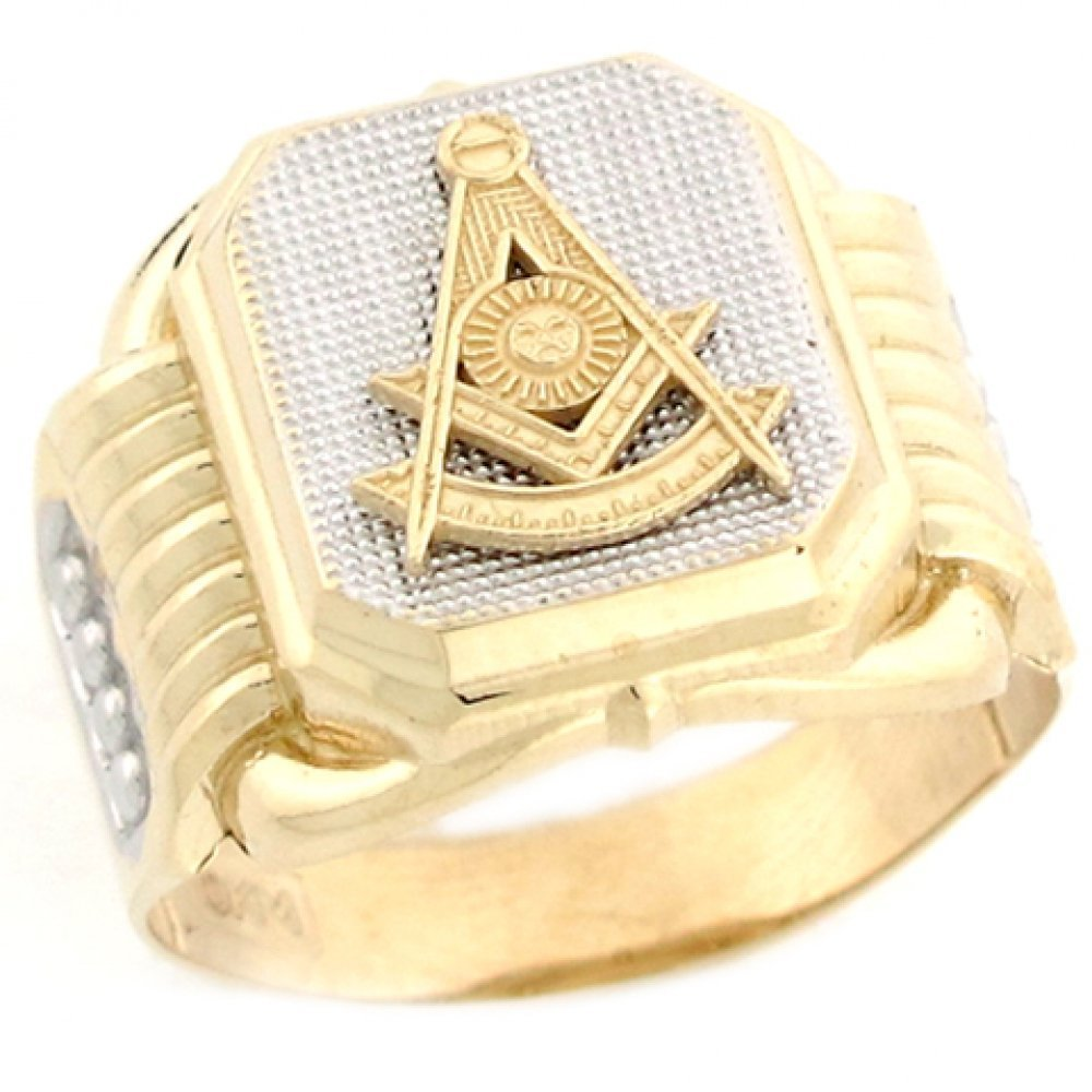 10k Two Tone Real Gold Past Master Freemason Masonic Fancy Mans Ring