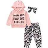 Teblacker Baby Boys Girls Leopard Sets Ruffle Long Sleeve Sweatshirt Long Pants Suits Hooded Outfits