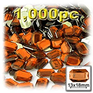 The Crafts Outlet 1000-Piece Acrylic Aluminum Foil Flat Back Octagon Rectangle Rhinestones, 13 by 18mm, Orange