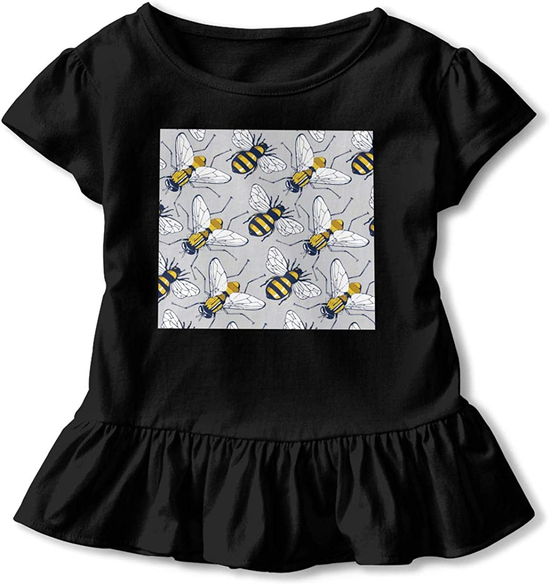 Not Available Bees Pattern Baby Girls Short Sleeve T-Shirt Flounced Graphic Outfits for 2-6 Years Old Baby