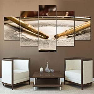 Retro Home Decor House Decorations Living Room Grunge Pictures Drum Sticks Paintings 5 Panel Canvas Wall Art Contemporary Artwork Giclee Framed Stretched Ready to Hang Posters and Prints(60''Wx32''H)