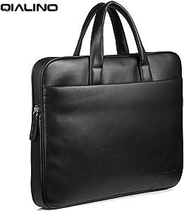 "QIALINO Genuine Leather 15.6 in Laptop Briefcase/Shoulder Bag, Water-Proof Ultrabook Carrying Case Handbag for 15"" MacBook Pro 2016/ Acer Swift/Dell XPS/HP/AUSU/Lenovo/Xiaomi Mi Notebook, Black"
