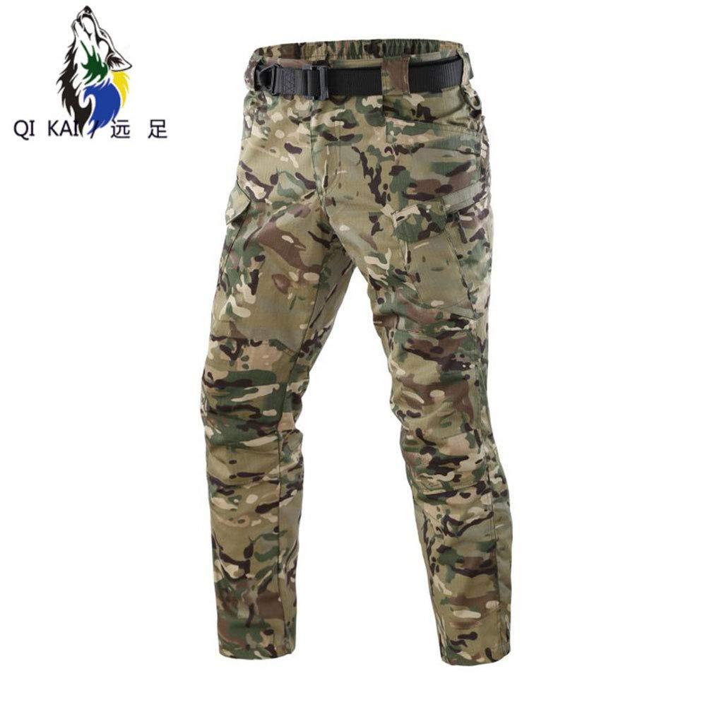 QIKAI Tuta Mimetica da Uomo Pantaloni Multi-Pantaloni Scozzesi di Colore Puro Pantaloni Tattici Traspiranti e Resistenti allUsura A-S