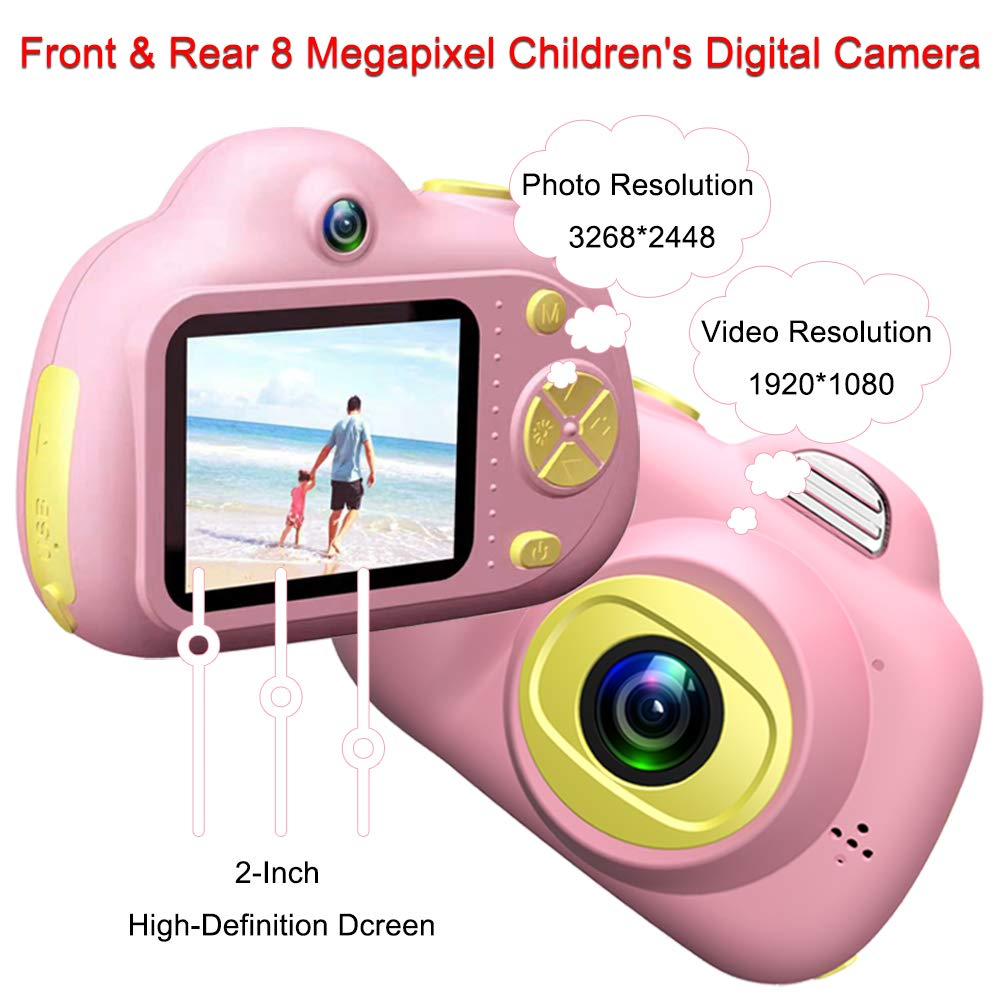 Quiklet 8MP Camera for Kids, Toy Kid Video Cameras HD Mini Digital Cam for Boys Girls, Great Gift Mini Child Camcorder with Soft Silicone Shell for Outdoor Play,Pink(16GB Memory Card Included) (Pink)