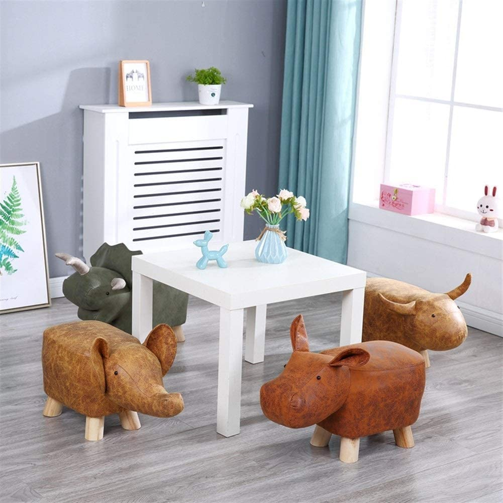 BYTGK Animal Shape Footstools Ottomans Padded Cushion Footstool Pouffe Stool Rest Seat Sofa Chair (Color : Green dinosaur) Red Elephant
