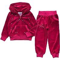 NOONOOJOOJOO Kids Girls Tracksuit Velour Velvet Hoodie Bottom Jog Suit Jogger 2-10Years
