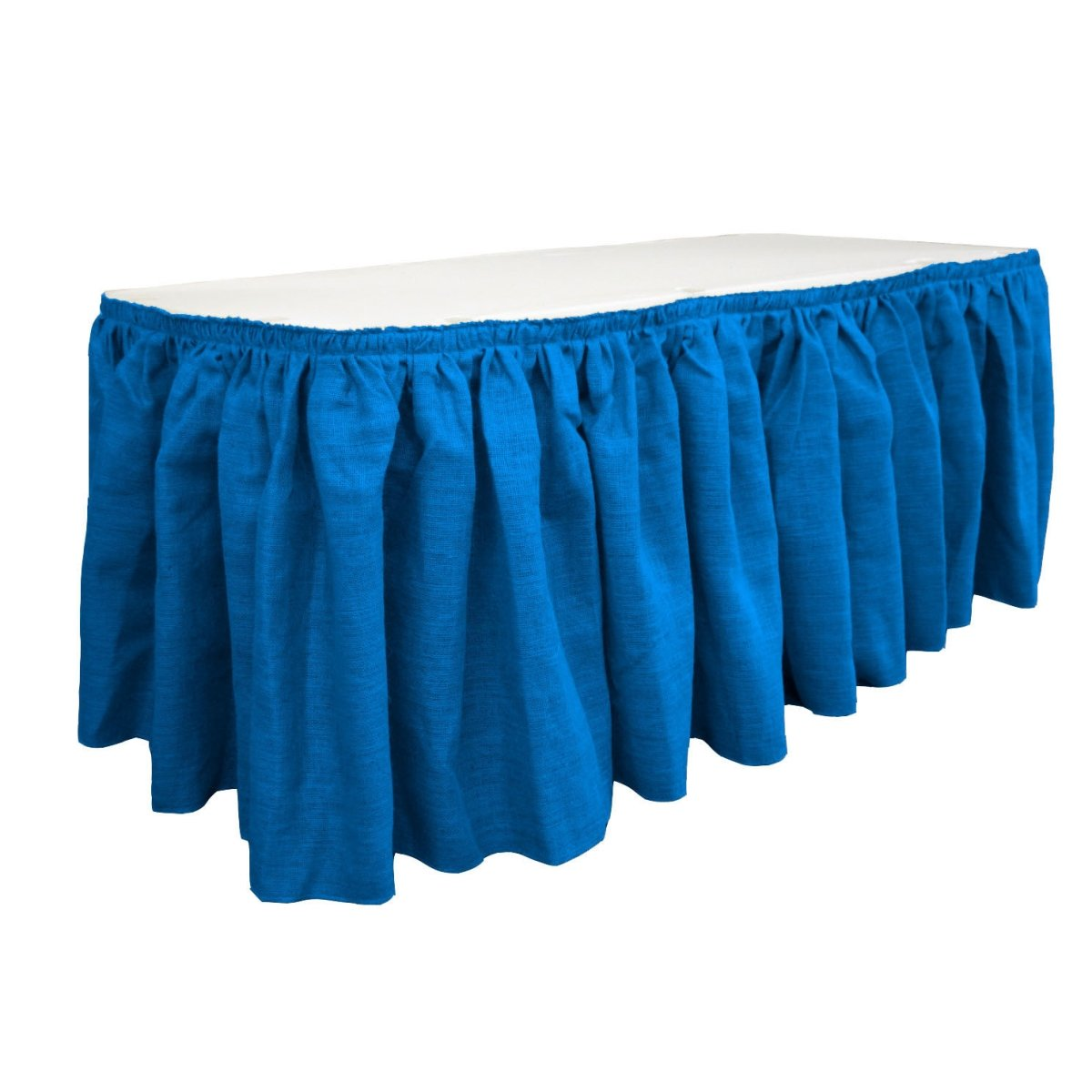 LA Linen SkirtBurlap17x29-10Lclips-BlueRoyal Burlap Table Skirt with 10 L-Clips44; Royal Blue - 17 ft. x 29 in.