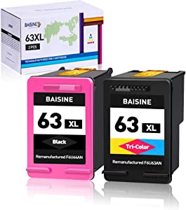 BAISINE Remanufactured Ink Cartridge Replacement for HP 63 63XL 63 XL for OfficeJet 3830 5255 5258 4650 3833, Envy 4520 4512 4513, DeskJet 3630 1112 3632 3634 3639 3636 3637 2130 2132 (1Black 1Color)