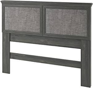 Ameriwood Home Stone River Full/Queen Headboard with Fabric Inserts, Weathered Oak