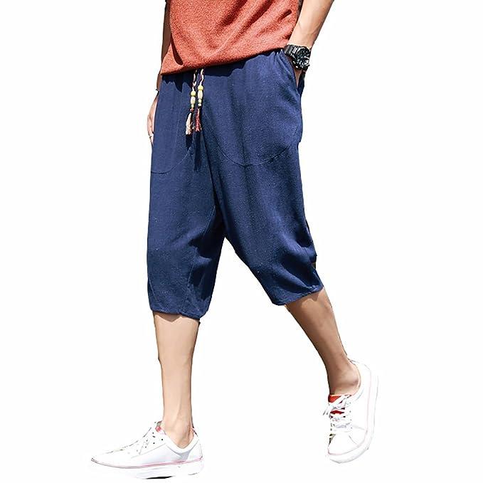 Verano Pantalones Cortos Hombre Cómodo Pantalones Chinos Pantalones Anchos Bermudas Baggy Casual Hippies Transpirable… f90bsEOPgk