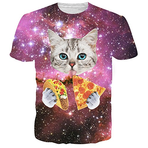 RAISEVERN Mens 3d Galaxy Space Cat Printed Hip Hop Stylish T-Shirts,Pizza Cat5,US X-Small / Asian Medium