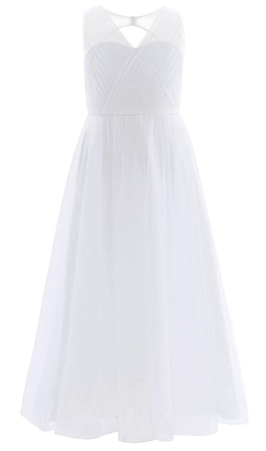 0c1bf8b447f81 iiniim Robe de Cérémonie Mariage Soirée Longue Fille été Tulle sans Manches  Col V Robe de Plage Enfant 4-14 Ans  Amazon.fr  Vêtements et accessoires