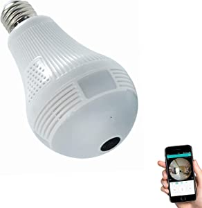 HD 1080P Light Bulb Camera, Include 16GB Card 2.4GHz Wireless Security IP, 360 Degrees Panoramic VR Home Surveillance Dome Cam, with Night Vision Motion Detection Alarm for Baby Office Pet Monitor