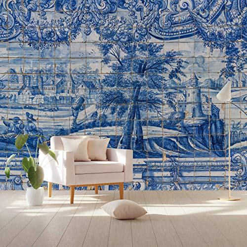 - Murwall Chinoiserie Wallpaper Blue Tile Wall Mural Gold Brush Wall Print Chinese Home Decor Cafe Design Entryway