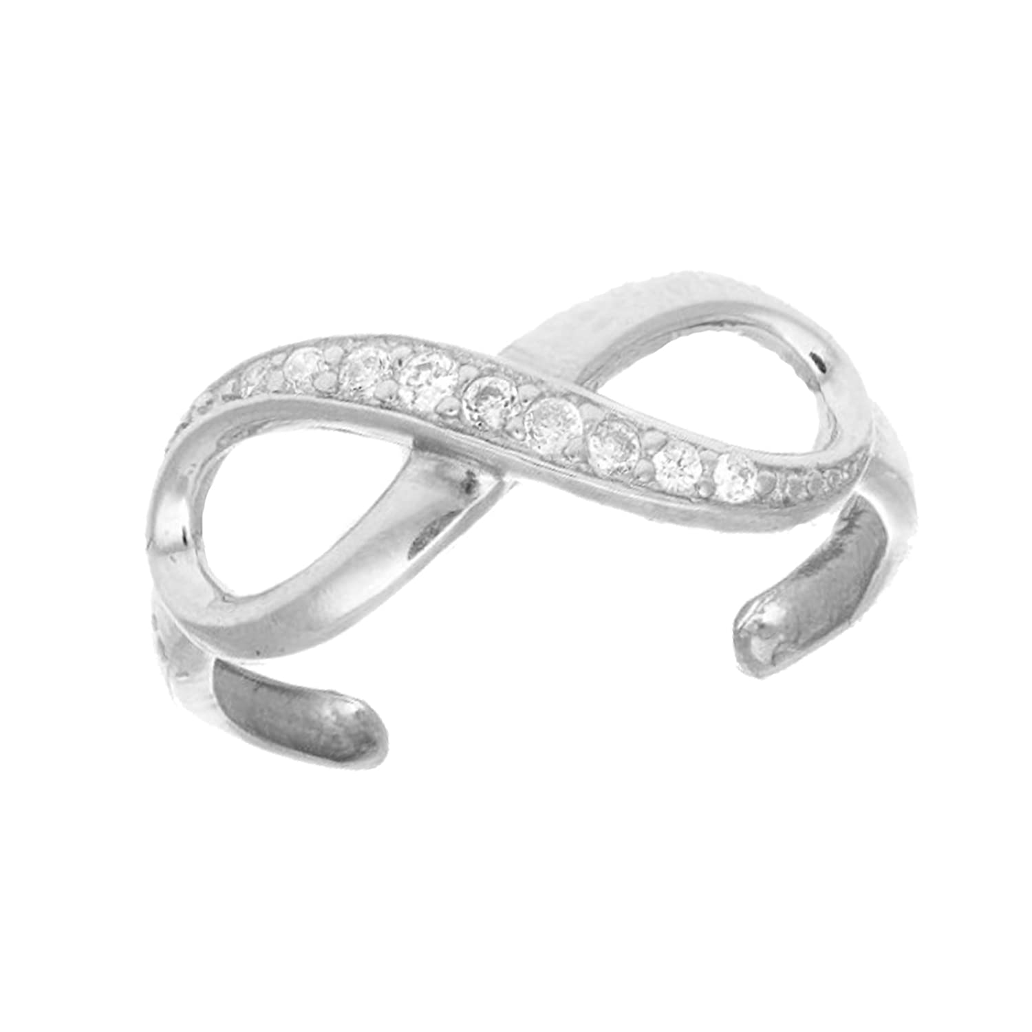 .925 Sterling Silver CZ Infinity Toe Ring Body Jewelry Adjustable Ritastephens 1