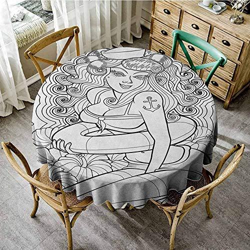 Rank-T Restaurant Living Room Round Tablecloth 50