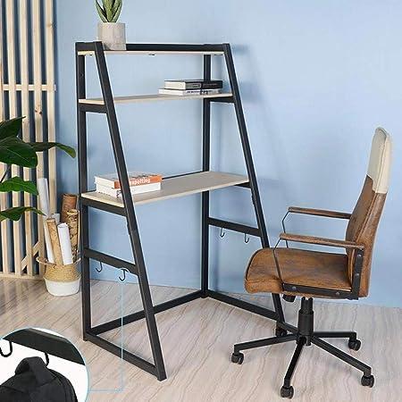 Bakaji Home - Escritorio para Ordenador con 2 estantes y Ganchos de Madera y Metal - Dimensiones: 90 x 60 x 150 cm - Color Haya: Amazon.es: Juguetes y juegos