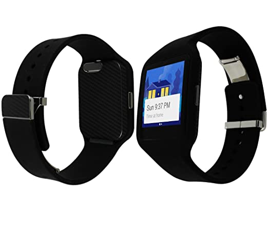 Skinomi Black Carbon Fiber Full Body Skin Compatible with Sony Smartwatch 3 (Full Coverage) TechSkin with Anti-Bubble Clear Film Screen Protector