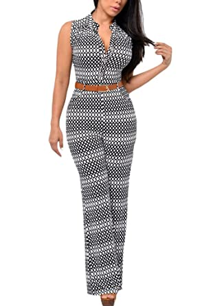 06956fbe4027 Amazon.com  HOTAPEI Women V Neck Belted Sleeveless Wide Leg Jumpsuit   Clothing
