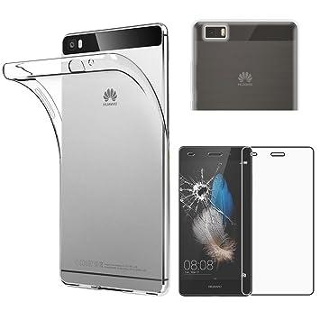 ebestStar - Funda Huawei P8 Lite Carcasa Silicona, Protección Claro Ultra Slim, Transparente + Cristal Templado Protector [NB: Leer descripción] ...