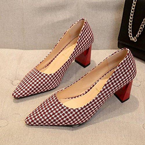 profesionales Rojo Negro con Marrón GAOLIXIA para tacón cuadros de Rojo Seasons mujer Zapatos Zapatos Four de de espesor mujeres alto Zapatos xq8fnCTPaw