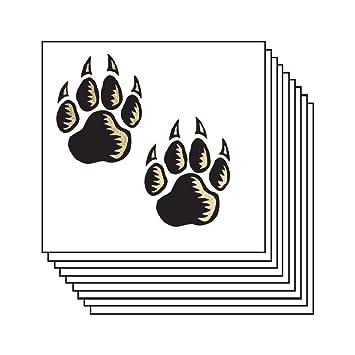 Amazon com : Metallic Wolf Paw Prints Temporary Tattoos (20