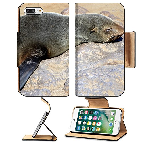 Luxlady Premium Apple iPhone 7 Plus Flip Pu Leather Wallet Case iPhone 7 Plus 17886389 Colony of seals at Cape Cross Reserve Atlantic Ocean coast in Namibia Gemstone Personalized Cross