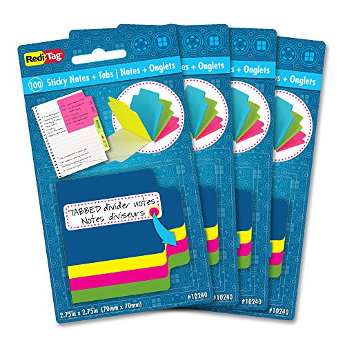 Redi-Tag Mini Neon Divider Notepad, 100 Tabbed Sticky Notes, 4 Neon Colors, 2.75 Inch Square, 4 Packs (10247) ()