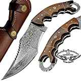 Rose Wood 9.5'' Fixed Blade Custom Hand Made Damascus Steel Hunting Knife 100% Prime Quality with Leather Sheath